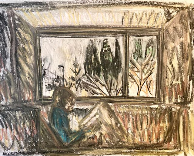 Keeping warm #snow #noschool #drawing #readinginthewindow #royaldrawingschoolalumni