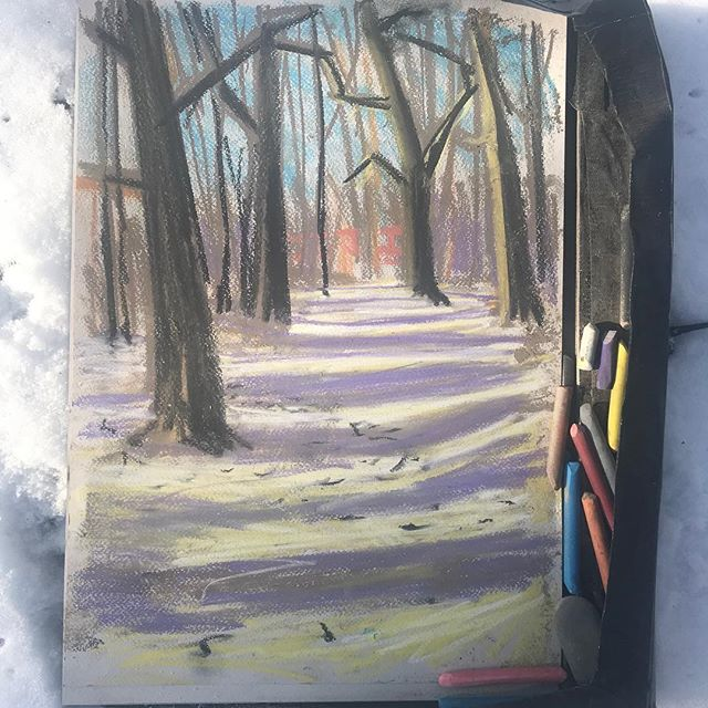 Drawing in the snow.  Train passing through the trees. #cantfeelmyfingers #drawing #hassocks
