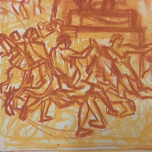 From #poussin The Adoration of the Golden Calf #fridayeveningnationalgallery #drawing #pastel