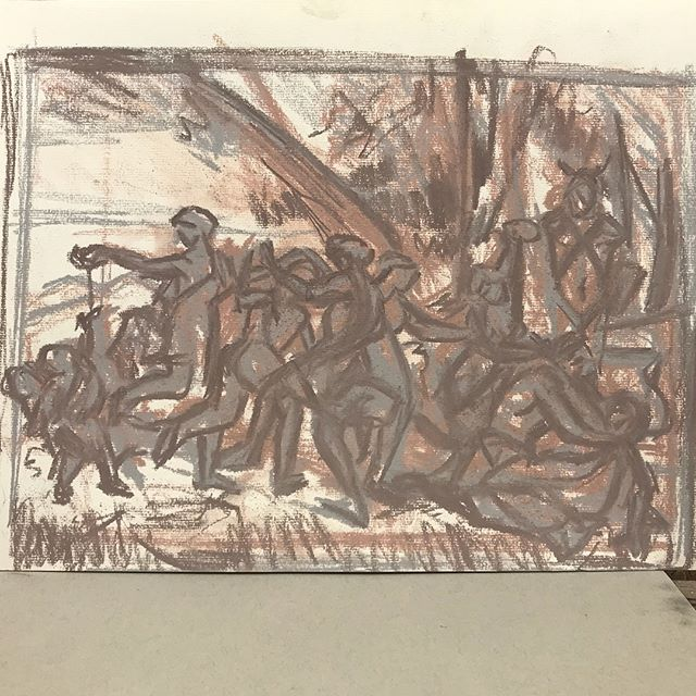 From #poussin A Bacchanalian Revel Before a Term @national_gallery #drawing #pastel