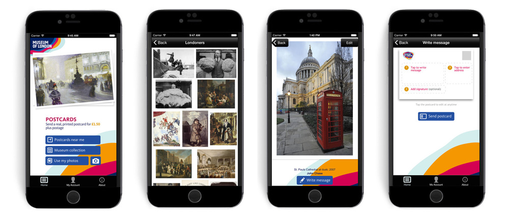 Museum Of London Postcards App screens