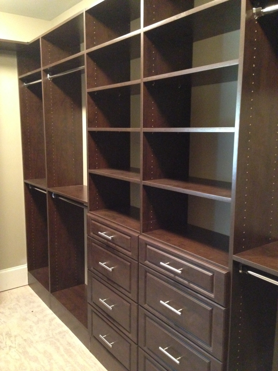 Floor Mount Chocolate Pear Closet Shelving