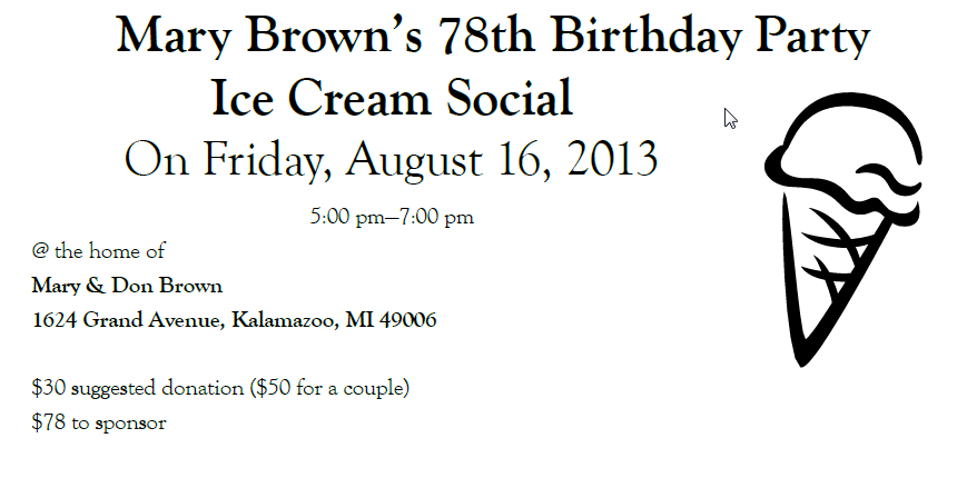 Mary Brown's 78th Birthday Party