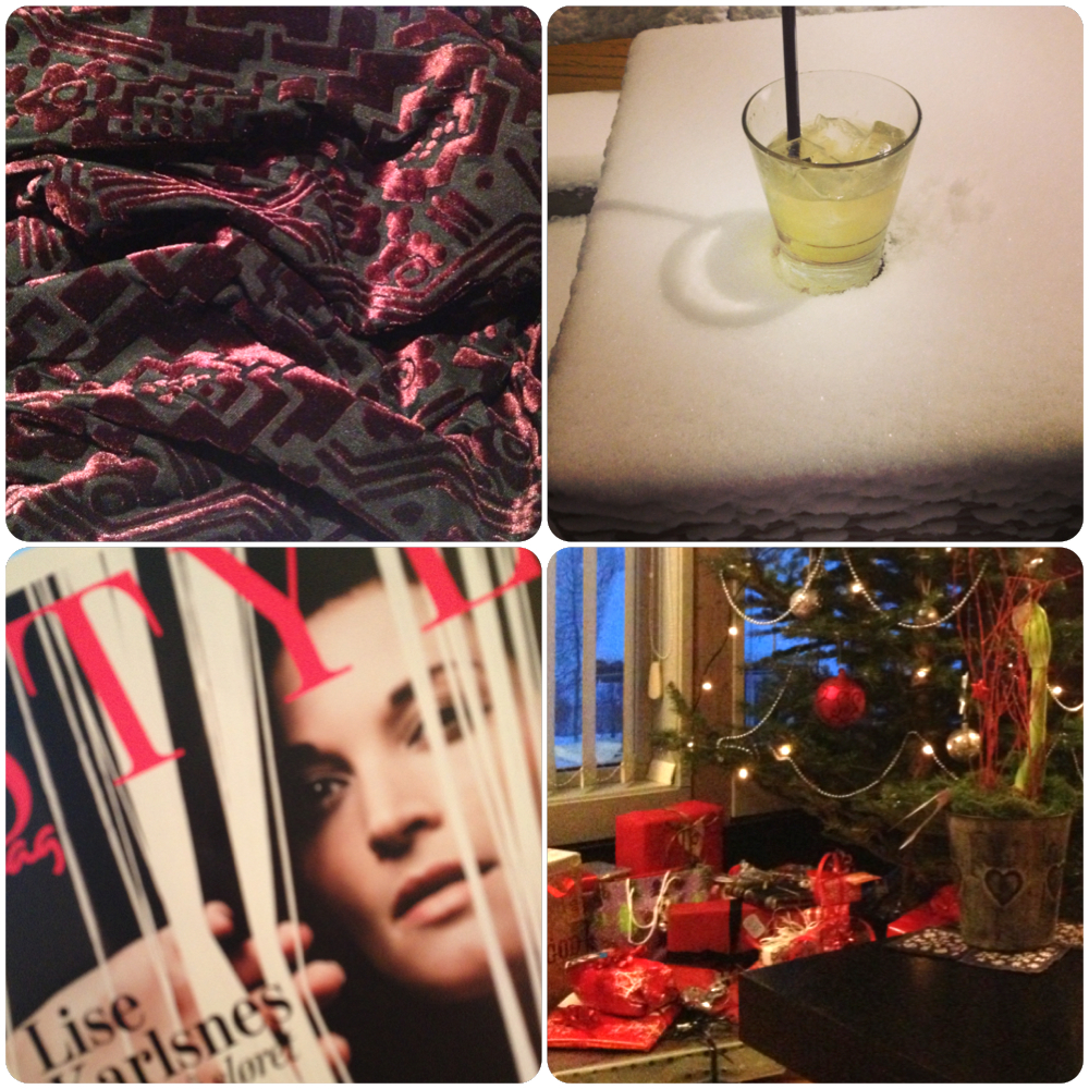 The xmas week summed up: Christmas dress, whiskey sours in the snow, motivational magazines and all the prezzies under the tree.    Follow me on Instagram  @nadineramsberg