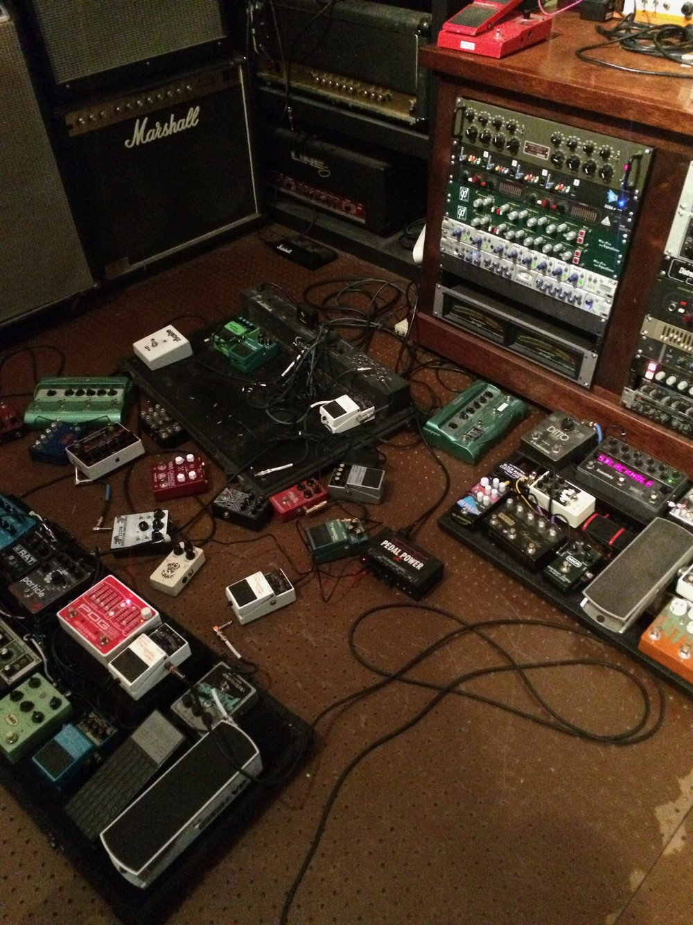 Some of the pedals and rack gear used on Pareidolia, exploded on the floor just how I like it.