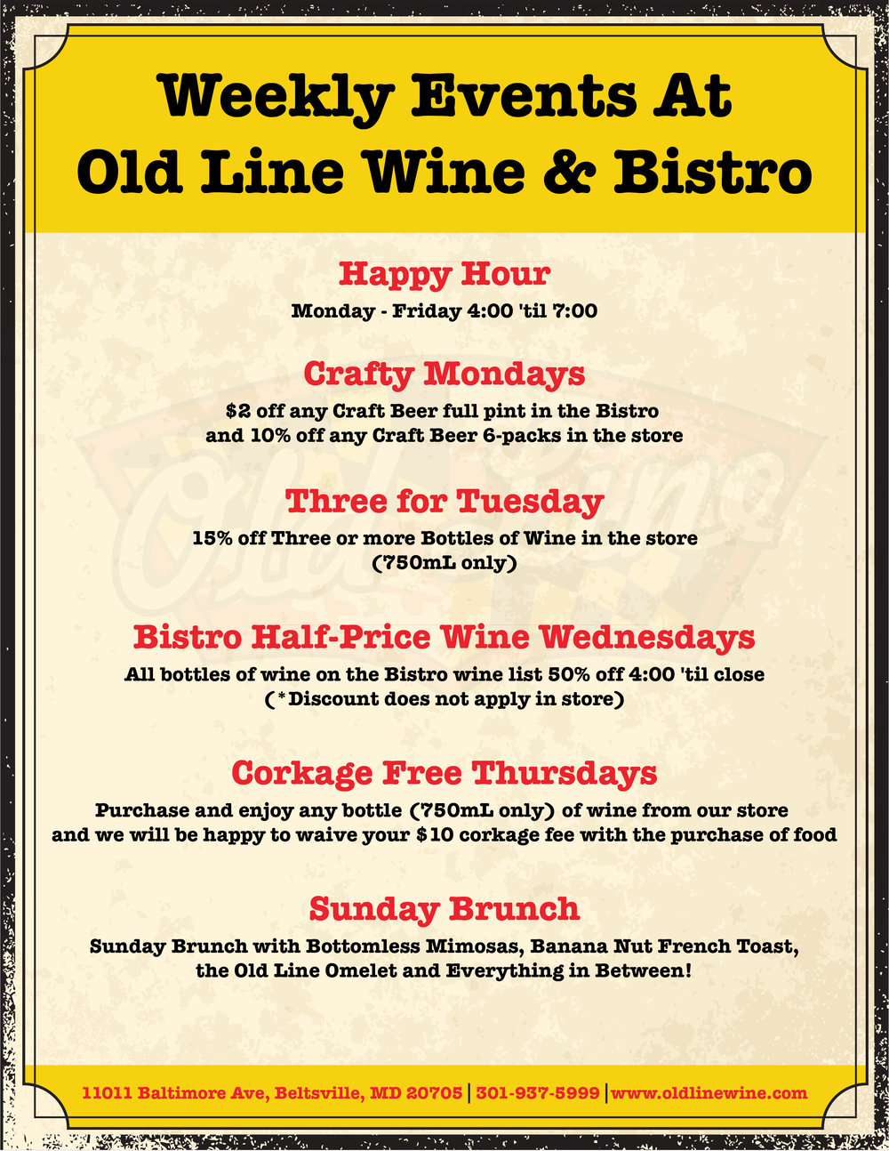 Promotional Flyer for Old Line Wine and Spirits
