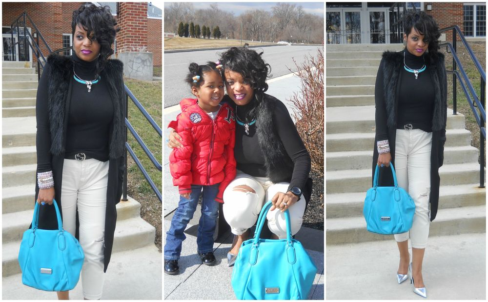 Me pictured with little Miss Niyomi at church, so precious and full of personality! My #WardrobeHustle  Vest: Trouve'  Top : BP Nordstrom  Pants:  JCrew  Purse:  Marc by Marc Jacobs  Shoes : Zara