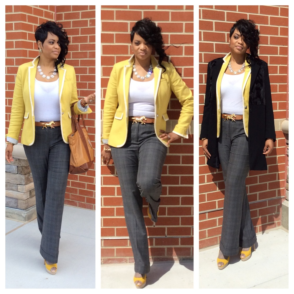 My #WardrobeHustle Blazer: Banana Republic Trousers: LOFT Shoes: Aldo Purse: Tory Burch Coat: Vince Camuto Sunnies: Miu Miu