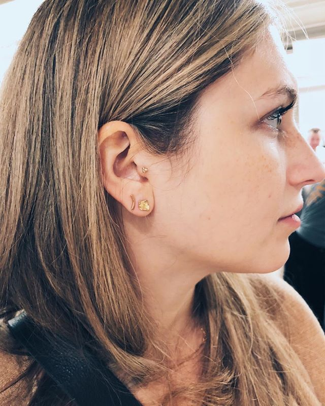 A beauty, wearing her new 18k splash studs in Chelsea last weekend. We had such a busy weekend we forgot to take more photos. Thank you to everyone who came by and supported our work. We will have a selection at the Copper Room in Soho starting this Friday through the end of the year!
