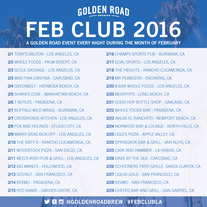 Golden Road February 2016 events