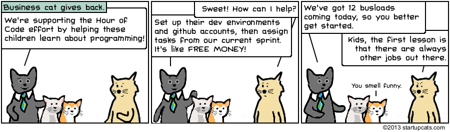 Business Cat gives back by participating in the Hour of Code campaign. Sprint success!
