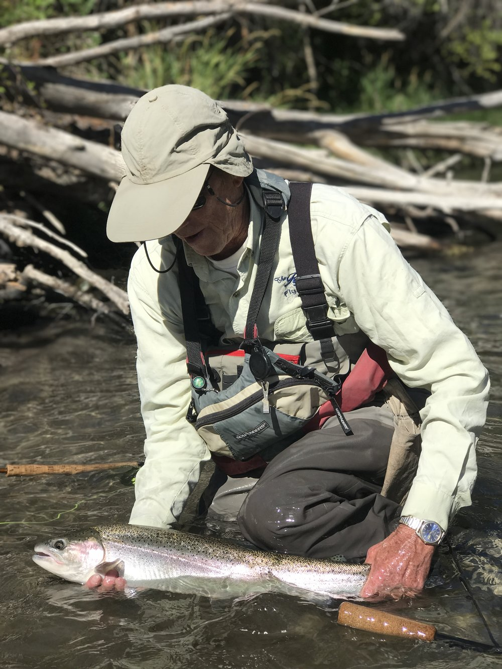 A perfect moment cradling a specimen of a steelhead