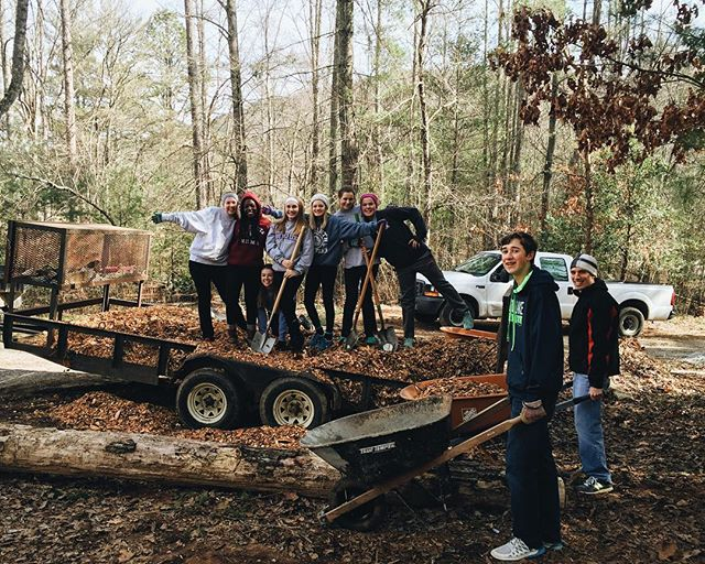 Our friends at @stannyouth are having a great time on their service day at Covecrest, making camp look beautiful! #bestcampever