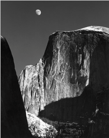 """Moon and Half Dome"" by Ansel Adams"