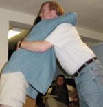 """The """"A-frame"""" hug."""