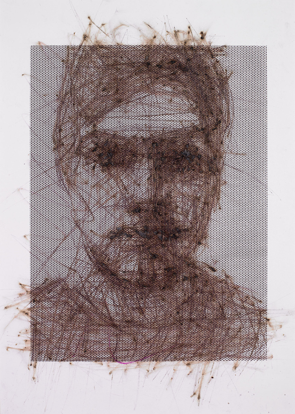 "Self-portrait, 2014, 15""x20"", Match-strikes on bristol paper with screen-print ink and powdered glass"