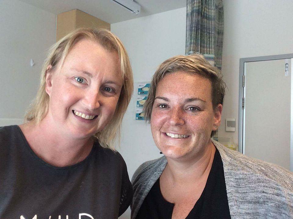 Hannah and Leanne in Wellington hospital