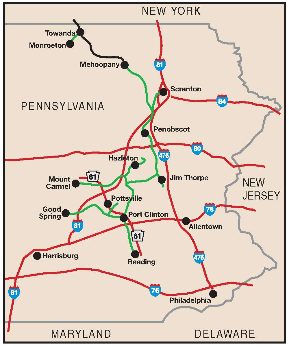 System Maps Reading Blue Mountain Northern Railroad - Norfolk southern system map