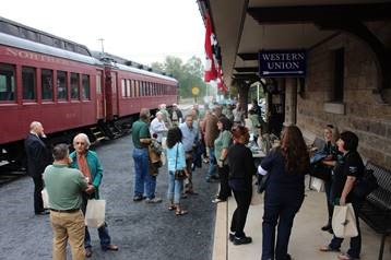 Friends and guests gather at the Schuylkill Haven Train Station.