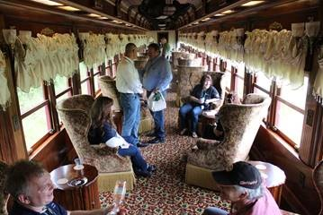 The Parlor car has plenty of room for guests to spread out and talk.