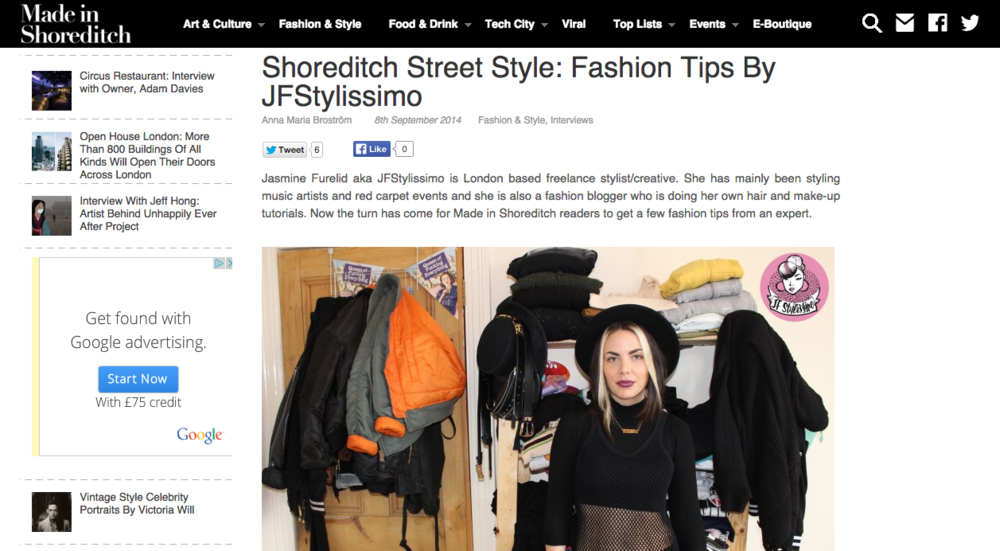 Im giving fashion tips in Made In Shoreditch Magazine.