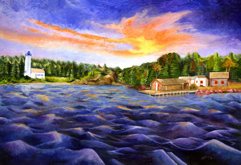 Isle Royale   //  ~24x16in  // Acrylic painting is a composition commissioned by Isle Royale National Park, National Park Service.