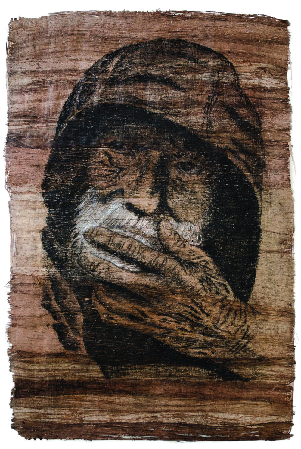 Woodless Man   //  ~16x20in  //  Charcoal over bark wood.