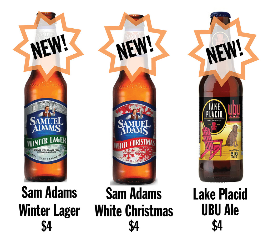a few new sam adams seasonals are in stock for winter also well be switching out one new york state beer saranac pale ale for another tasty local beer - White Christmas Sam Adams