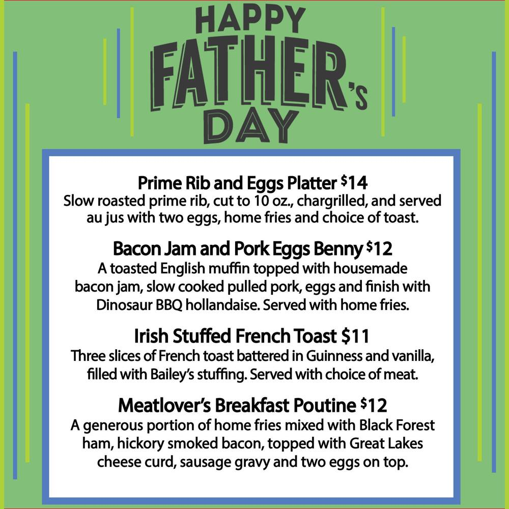 Reservations will be accepted for parties of 8 or larger. Please call 315-232-4881 for reservations or send us a message on Facebook. Happy Father's Day!