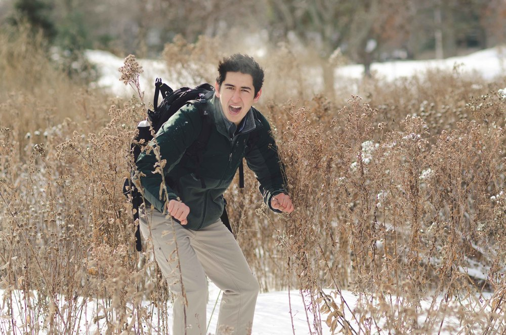 Braving the Iowa tundra, channelling Bear Grylls.