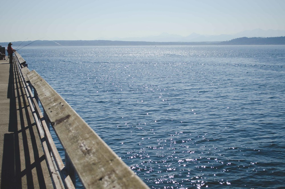 Fishing for King Salmon on the Edmonds pier