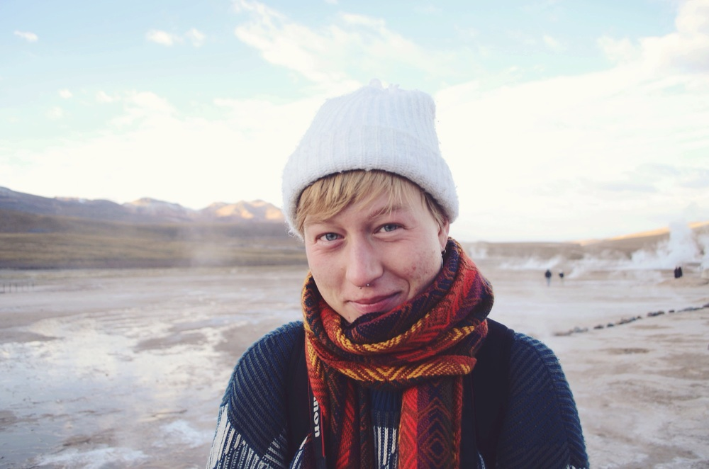Clara at the Tatio Geysers around 7:30am. It was really cold. Photographer, traveller, artist, general badass human. Good egg. // 18 april 2015