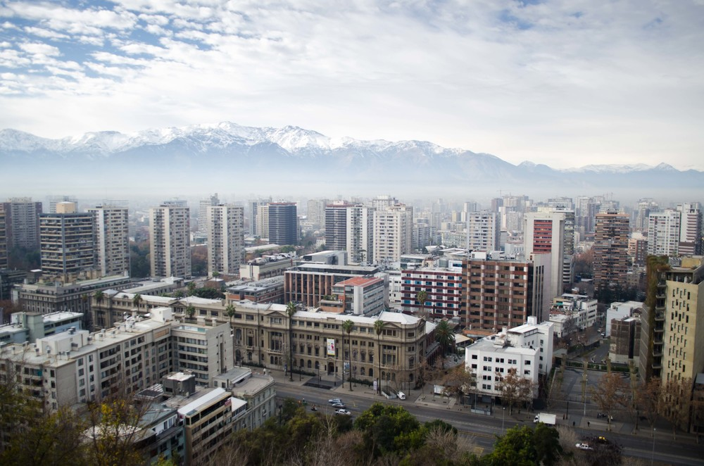 The view of the Andes mountains from Santa Lucia hill in Santiago, Chile