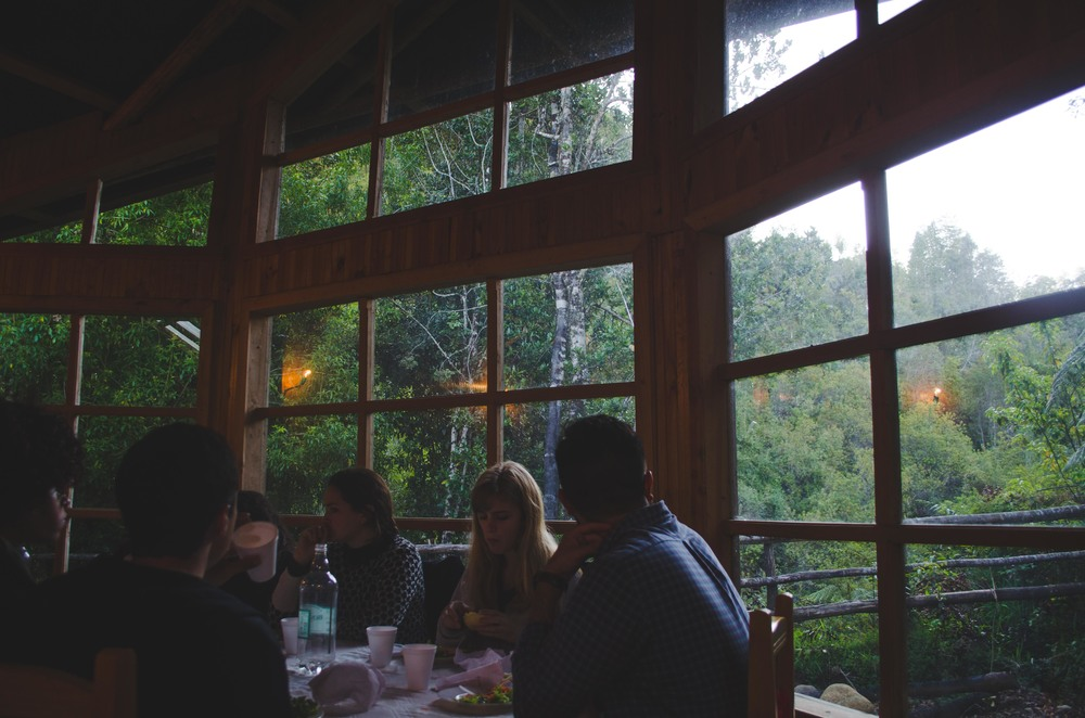 Dinner with a beautiful view towards the waterfall