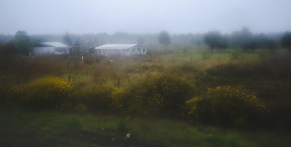 the weather turned rainy for the drive to the airport, more typical Chiloé weather than the weekend's sun