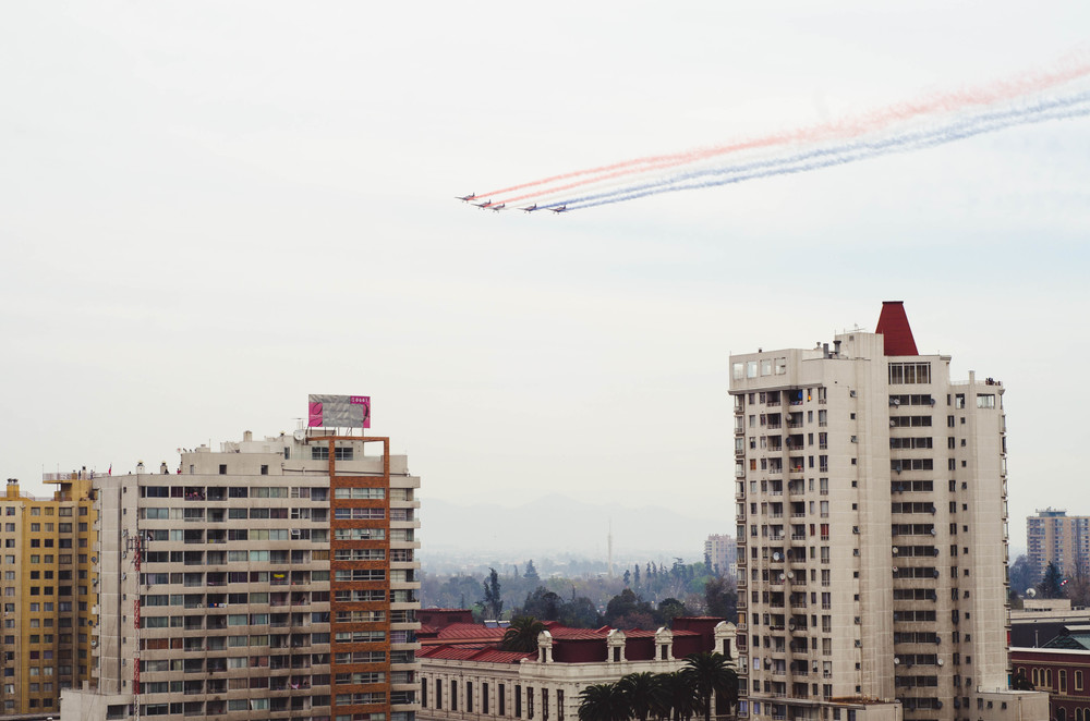 Fighter jet demonstration over the park - as seen from my apartment building.