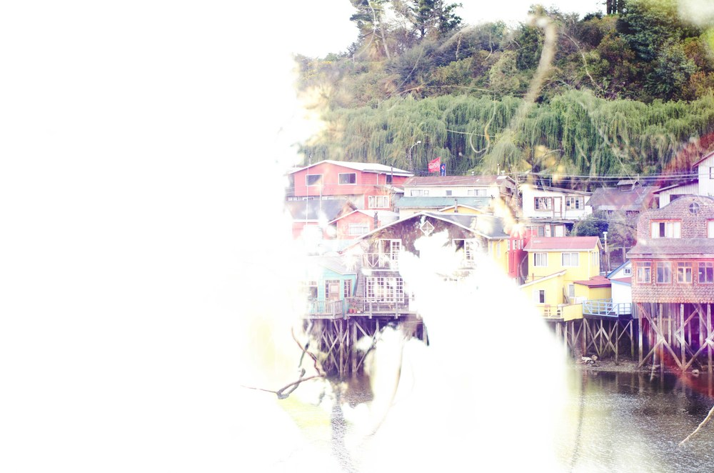 Double exposure of two photos taken in Chiloé