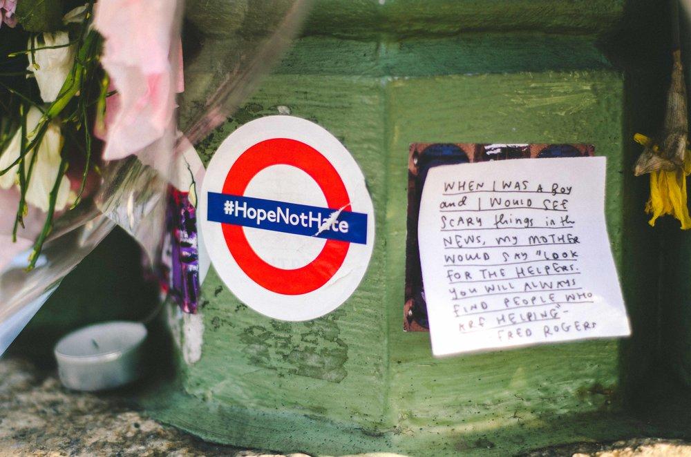 Memorials on the Westminster bridge.