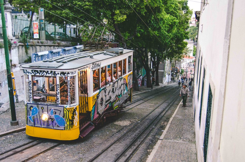 Typical  Elevador da Gloria  tram photo