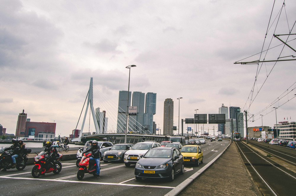 Erasmusbrug  (Erasmus Bridge) with separate lanes for pedestrians, cyclists, tram, and cars