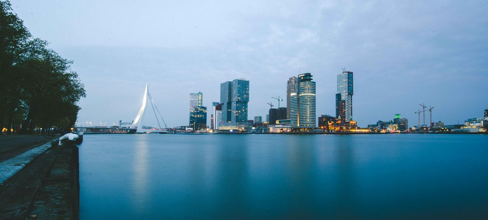 Rotterdam skyline. The smaller building with orange lights along the water is Hotel New York, where my great-grandfather most likely boarded the ship that brought him to the United States.