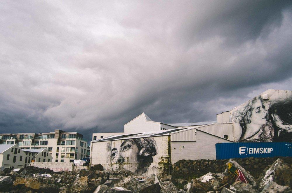 Iceland's turbulent skies + haunting public art/graffiti
