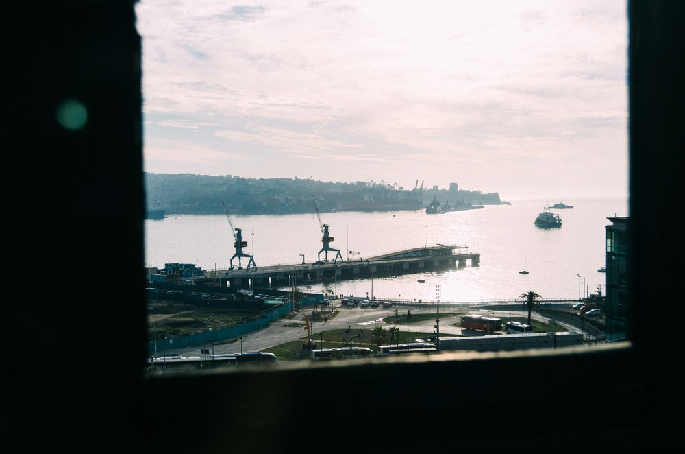 View of the port from an old  ascensor , one of the many outdoor elevators that help make the hilly city liveable