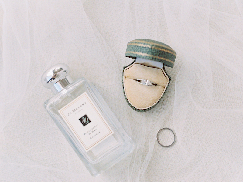 Your veil, perfume, and a vintage ring box create gorgeous photos, styled by The Styled Soiree, photo by  Sara Lynn Photo