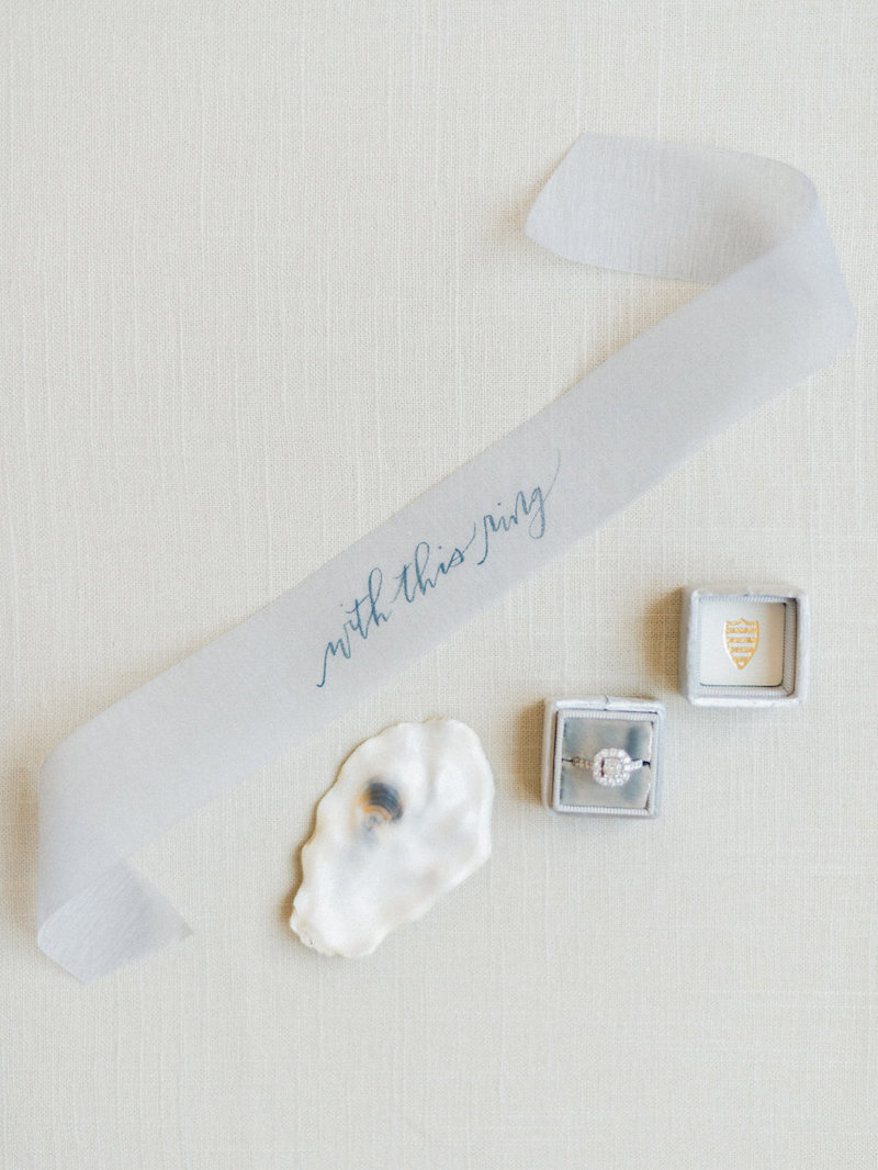 Stefanie Hofmeister  hand lettered this ribbon for a perfect ring shot, styled by The Styled Soiree, photo by  Decorus Fine Art Photography