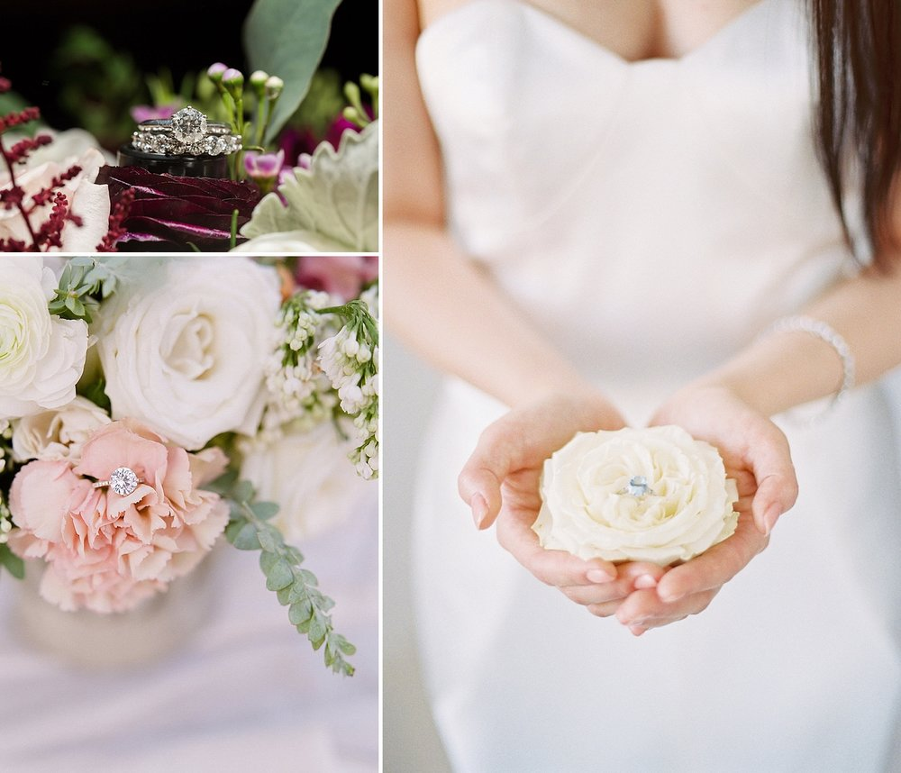 Style your engagement ring using flowers, but The Styled Soiree. Photo credits clockwise from top left:  Sarah Roshan Photography ,  Sara Lynn Photo ,  Michele with one L