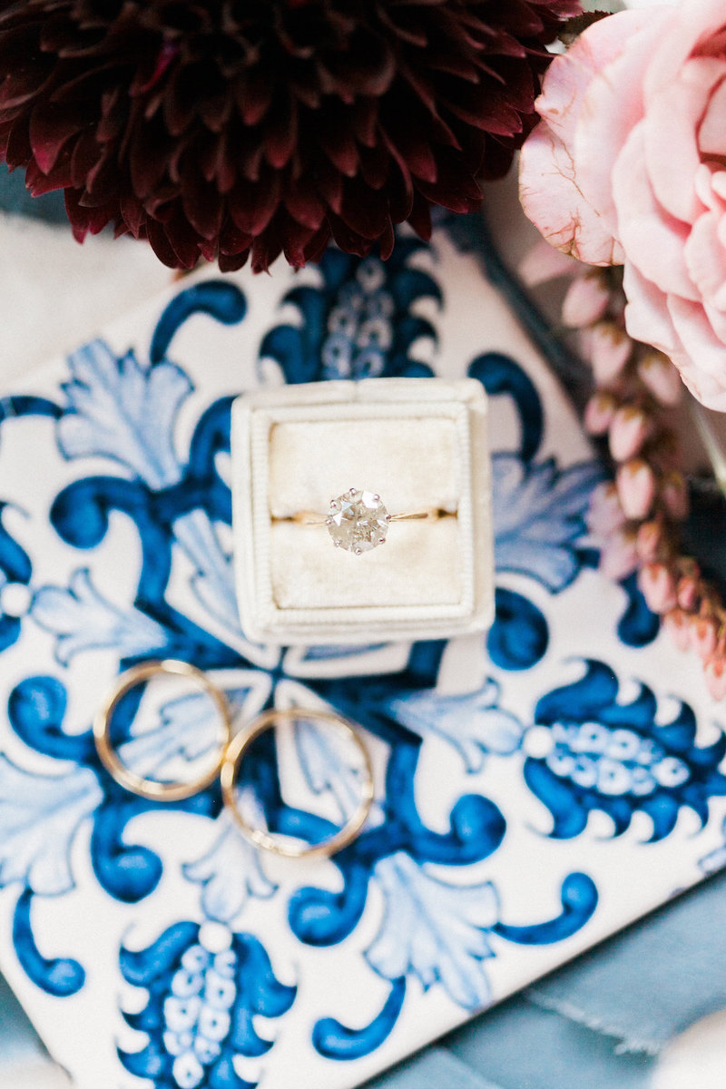 Use a fun patterned background when styling your rings for some visual interest. Styled by The Styled Soiree, Photo by Sara Lynn Photo
