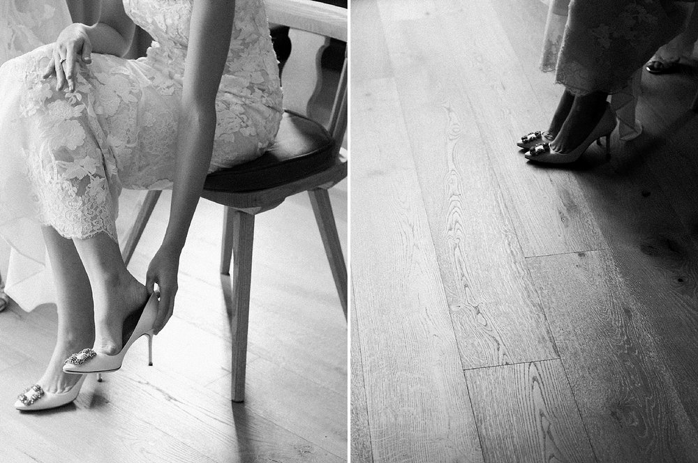 Bride putting on her wedding shoes at The Sonnenalp while getting ready