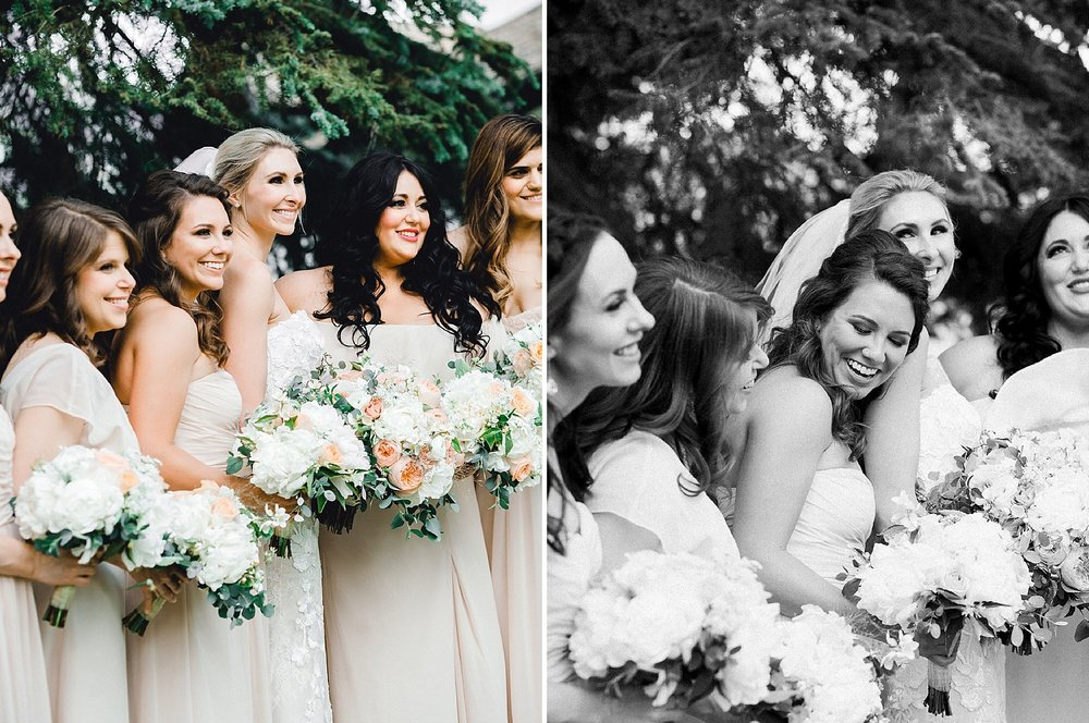 Bridesmaids with neutral dresses and blush and white bouquets with greenery