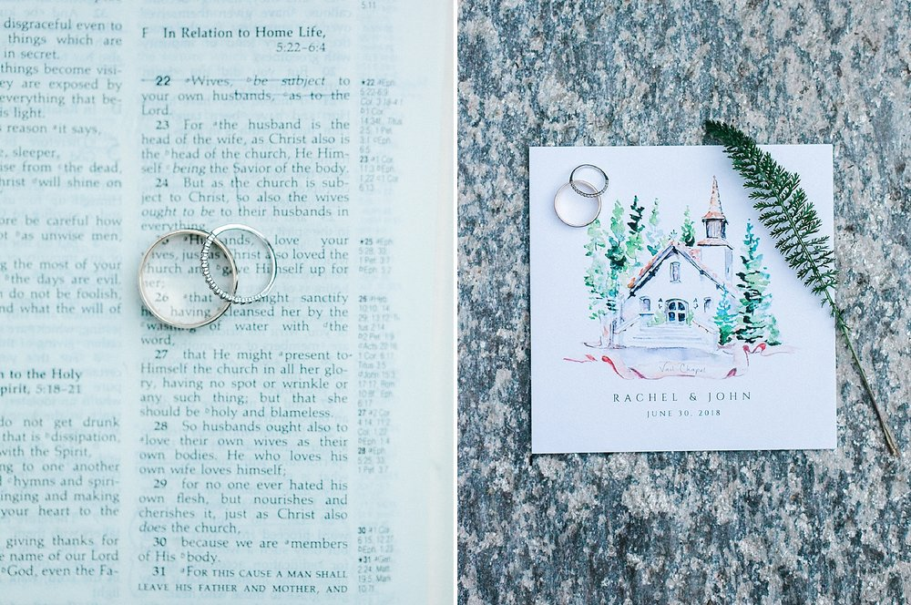 Wedding rings on a family bible and ceremony program with watercolor painting of Vail Interfaith Chapel